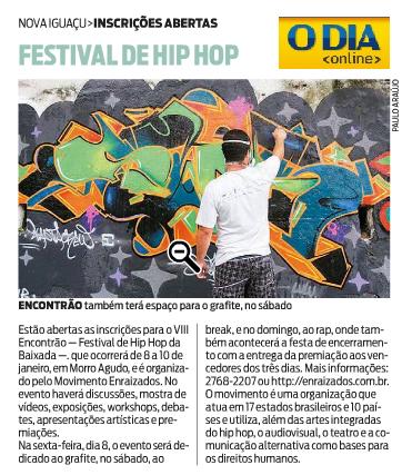 Matéria no jornal O Dia sobre o Festival de Hip Hop.